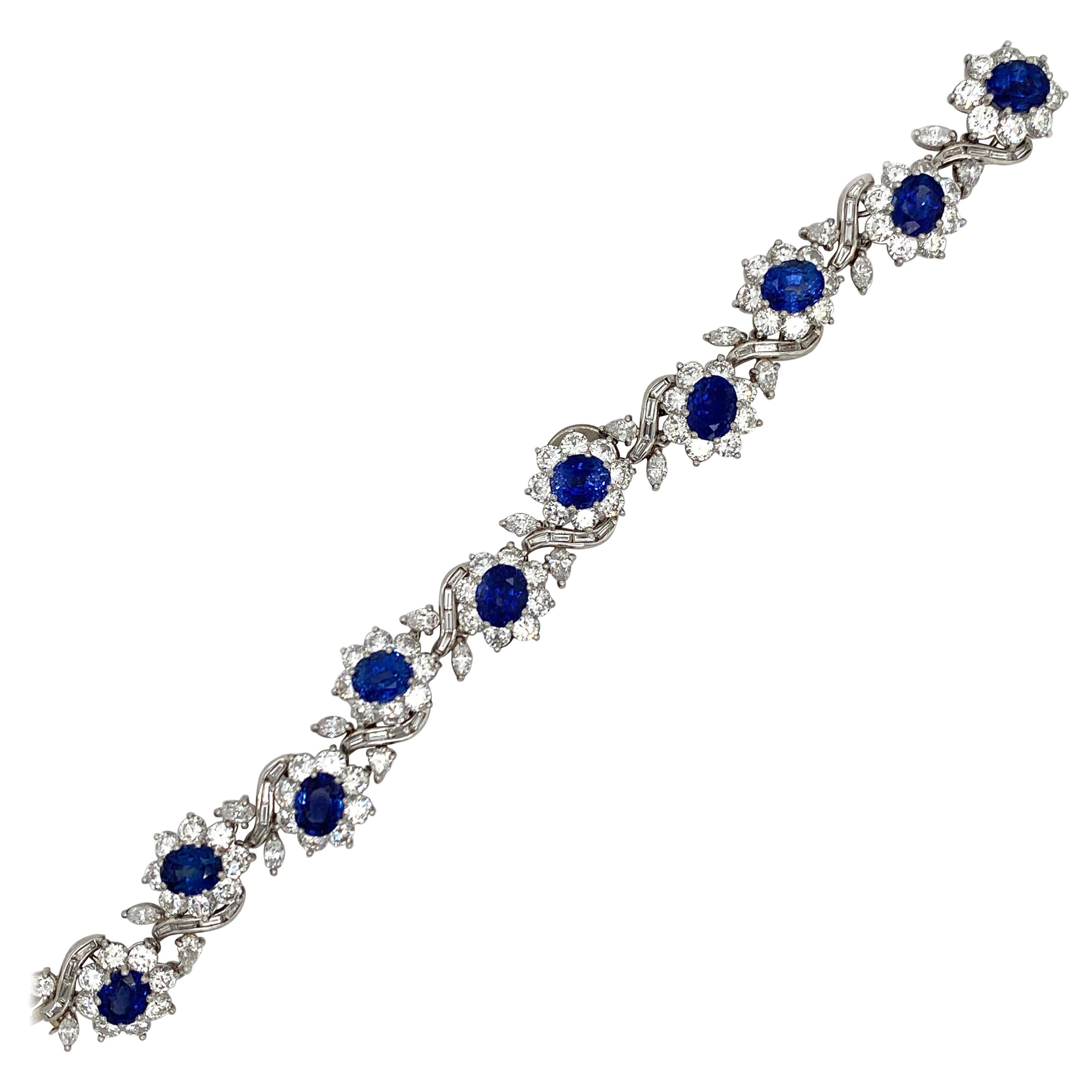 Platinum 21.23 Carat Sapphire Diamond Bracelet