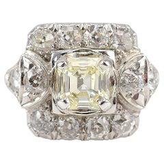 Platinum 2.13 CTW Diamond Art Deco Ring