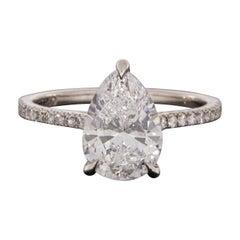 Platinum 2.21 Carat Pear Diamond Solitaire Engagement Ring