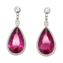 Platinum 22.36ct. Pear Shaped Rubellite Drop Earrings with 1.83ct. Diamonds
