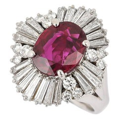 Platinum 2.24 Carat Natural Ruby and 2.00 Carat Diamond Ballerina Ring
