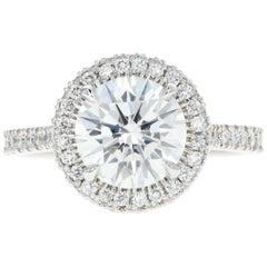 Platinum 2.29 Carat Round Brilliant Cut Diamond Engagement Ring