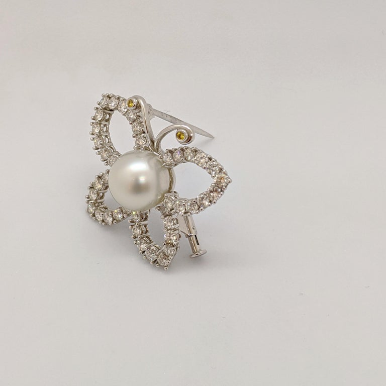 Modern Platinum and 2.29 Carat Diamond Butterfly Brooch with South Sea Pearl Center For Sale