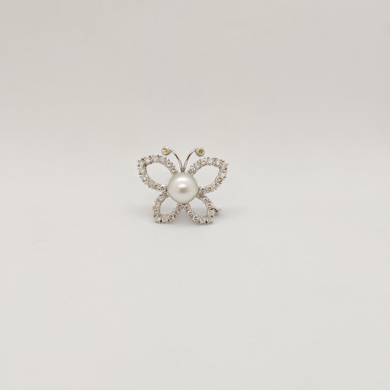 Round Cut Platinum and 2.29 Carat Diamond Butterfly Brooch with South Sea Pearl Center For Sale