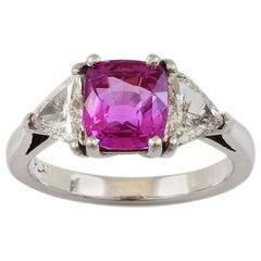 Platinum 2.35 Carat Radiant Pink Sapphire Vintage Engagement Ring