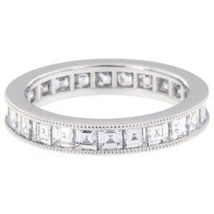Platinum 2.39 Carat Carre' Cut Diamond Eternity Band by William Rosenberg