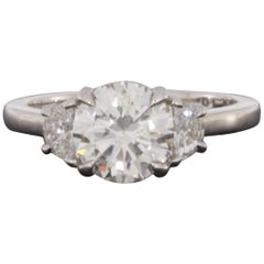 Platinum 2.46 Carat Round Diamond Three-Stone Engagement Ring
