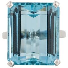 25 Carat Aquamarine Platinum Ring