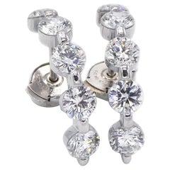 Platinum 2.50 Carat Diamond Hoop Earrings