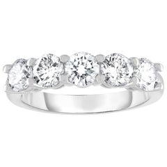 Platinum 2.50 Carat Five-Stone Diamond Band 'Each Stone 0.50 Carat'
