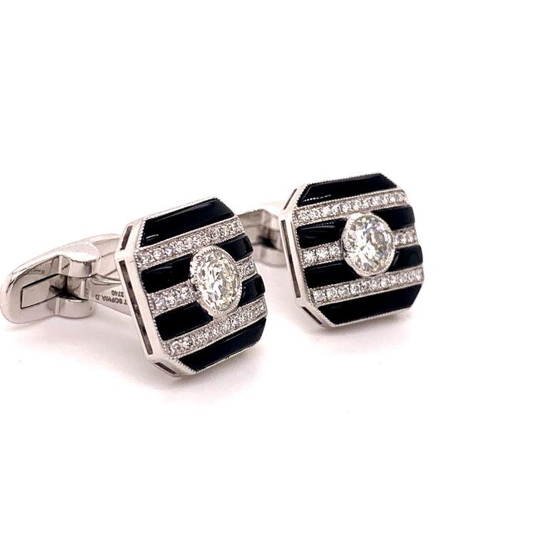Round Cut Platinum 2.50 Carat Round Center Diamond and Onyx Cufflinks For Sale