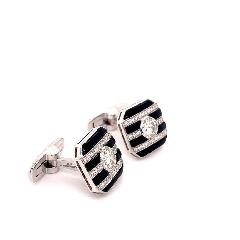 Men's Platinum 2.50 Carat Round Center Diamond and Onyx Cufflinks For Sale