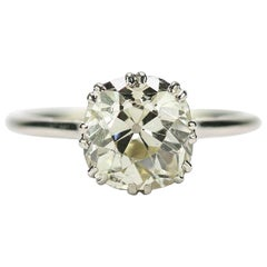 Art Deco Platinum 2.60 Carat Solitaire Cushion Cut Diamond Ring circe 1920s