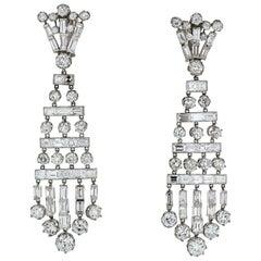Platinum 26.50 Carat Chandelier Hanging Old Cut Diamond Earrings