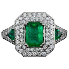 Platinum 2.68 Carat GIA Natural Emerald and Diamond Halo Engagement Ring