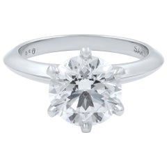 Platinum 2.69 Carat Round Cut Diamond Six Prong Solitaire Engagement Ring