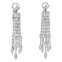 Platinum 27 Carat Diamond Hanging Chandelier Earrings