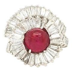 Platinum 2.85 Carat Ruby Cabochon and Diamond Ring Platinum