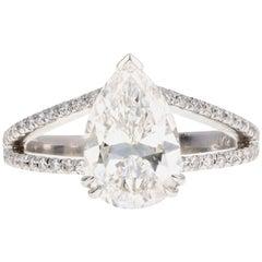Platinum 2.87 Carat Pear Brilliant Cut Diamond Split Shank Engagement Ring