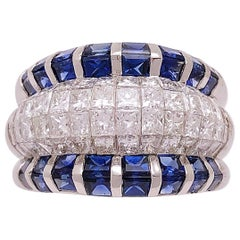 Platinum, 2.96 Carat Diamond and 3.94 Carat Blue Sapphire Band Ring