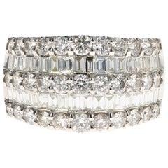 Platinum 3 Carat Round Brilliant and Baguette Cut Diamond Ring
