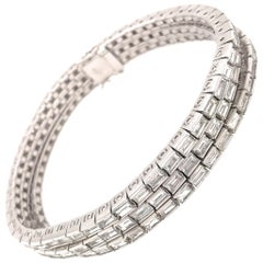 Platinum 3-Row Baguette Diamond Bracelet