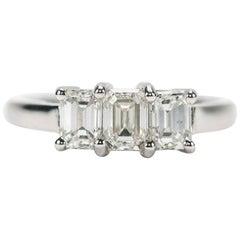 Platinum 3-Stone Emerald Cut Diamond 1.25 Carat Trinity Engagement Ring, H Color