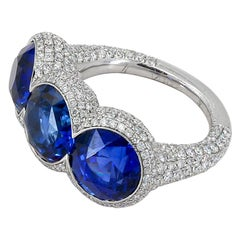 Contemporary Diamond Sapphire Platinum Three Stone Ring