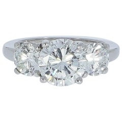 Platinum 3 Stones Round Diamond Engagement Ring