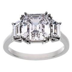 Platinum 3.01 Carat Assher Cut Diamond 3-Stone Ring, GIA, F Color, VVS1 Clarity