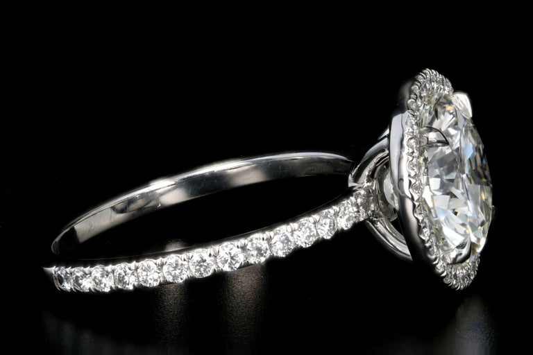 Platinum 3.01 Carat Round Brilliant Cut Diamond Halo Engagement Ring In New Condition For Sale In Cape May, NJ