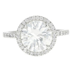 Platinum 3.01 Carat Round Brilliant Cut Diamond Halo Engagement Ring