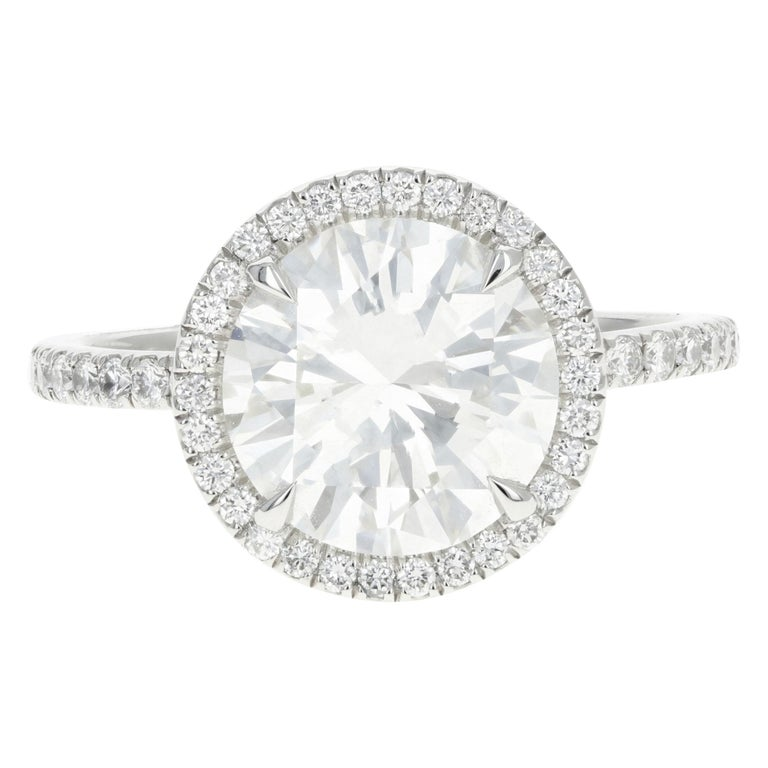 Platinum 3.01 Carat Round Brilliant Cut Diamond Halo Engagement Ring For Sale