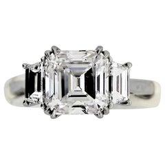 Platinum 3.01 Ct. Assher Cut Diamond 3-Stone Ring- GIA- F Color, VVS1 Clarity