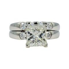 Platinum 3.06ct EGL Certified Princess Cut Diamond Wedding Set by Rock N Gold