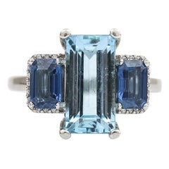 3.20 Carat Aquamarine, Blue Sapphire and Diamond Platinum Trilogy Ring