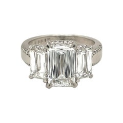 Platinum 3.20Ct. F VS1 Crisscut Diamond Engagement Ring GIA Certified