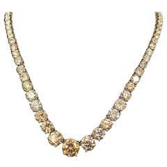 Platinum 32.10 Carat Total Diamond Riviera Necklace