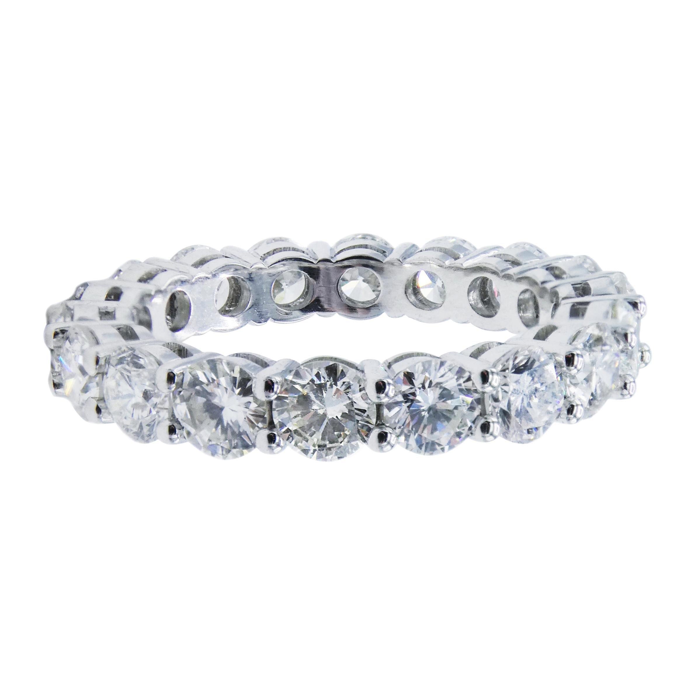 Platinum 3.27 Carat Round Diamond Eternity Band Ring