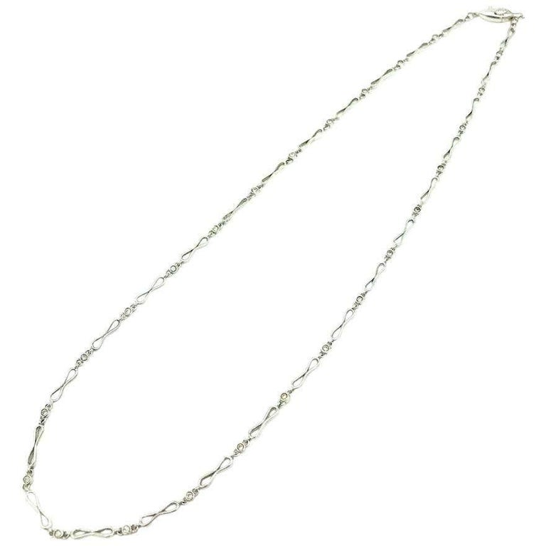 Round Cut Platinum .33 Carat Diamond Link Chain Necklace VS Clarity, F-G Color