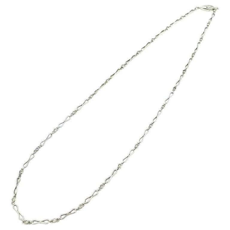Platinum .33 Carat Diamond Link Chain Necklace VS Clarity, F-G Color