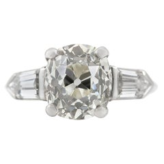 Platinum 3.33 Cushion Diamond Cut with Two Baguette Engagement Ring