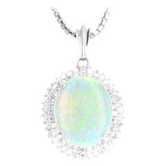 Platinum 3.45 Carat Opal and Diamond Pendant Necklace