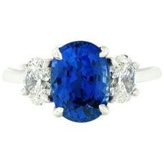 Platinum 3.46 Carat GIA Oval Brilliant Ceylon Blue Sapphire Diamond Ring