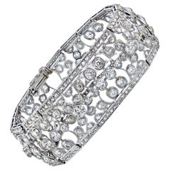 Platinum 35 Carat Old Cut Diamond Openwork Bracelet