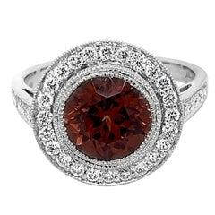Platinum 3.53 Carat Zircon 0.50 Carat Diamond Ring