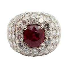 Platinum, 3.54 Carat Ruby and 9.50 Carat Diamonds Ring