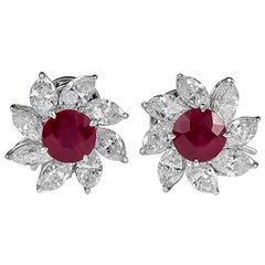Platinum 3.57 Carat Ruby and Diamond Earrings
