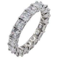 Platinum 3.60 Carat Asscher Diamond Eternity Band Ring