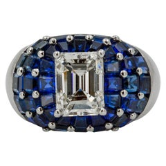 Oscar Heyman Platinum 3.65 Carat Diamond 10 Carat Sapphire Dome Ladies Ring